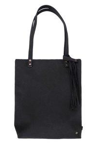 Basic shopper met kwast mat zwart